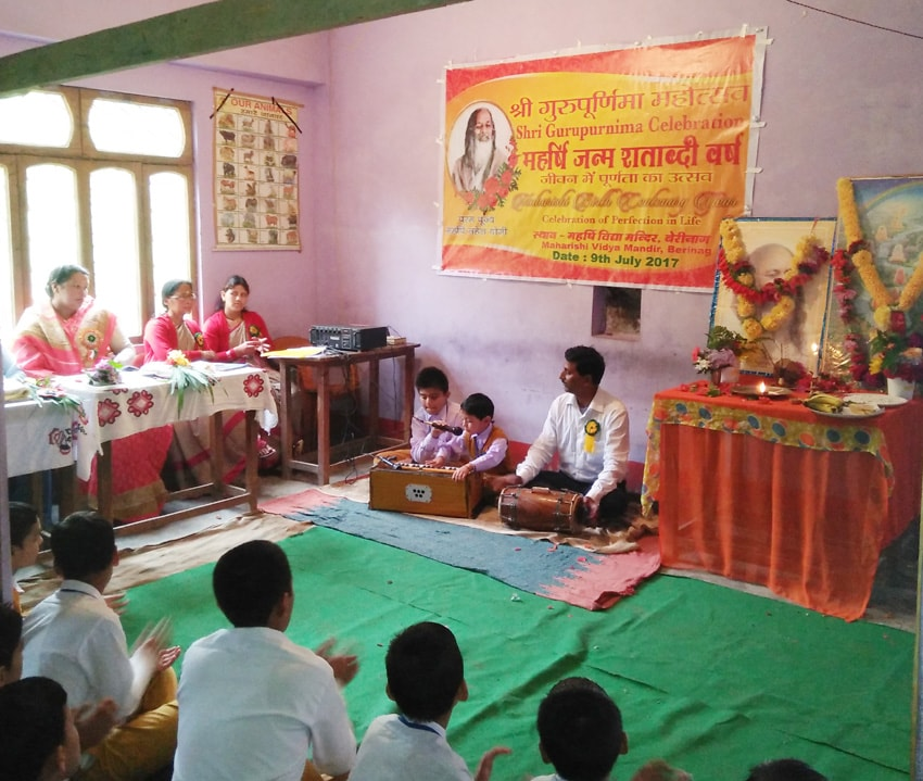 bhajans were presented by students and teachers of mvm berinag