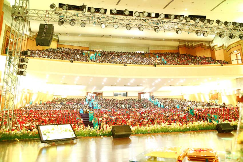 auditorium was over crowded with over 3000 individuals