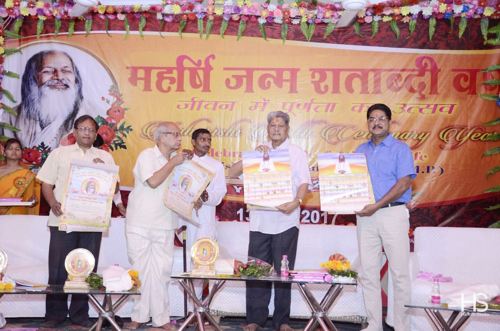 wall calendar with maharishi ji beautiful pictures was released by all dignitaries